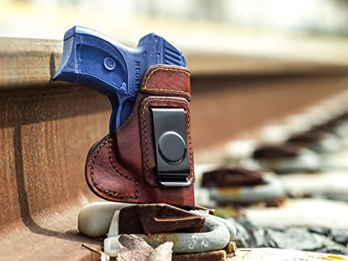 OutBags USA LS3LC9 (BROWN-RIGHT) Full Grain Heavy Leather IWB Conceal Carry Gun Holster for Ruger LC9 9mm. Handcrafted in USA.