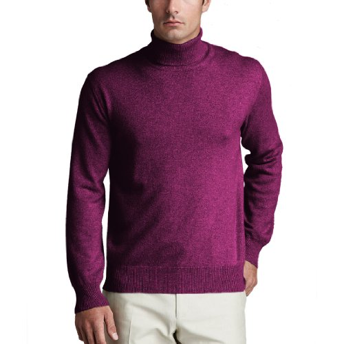 Parisbonbon Men's 100% Cashmere Turtleneck Sweater Color Red-Violet Size ()