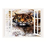 good looking angry birds decals SCOCICI Peel and Stick Fabric Illusion 3D Wall Decal Photo Sticker/Tiger,Wild Beast Looking Straight into The Eyes of The Viewer Angry Looking Panthera Tigris Decorative,Multicolor/Wall Sticker Mural
