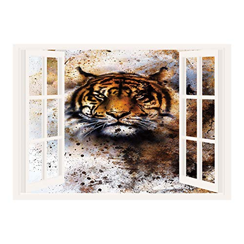 SCOCICI Peel and Stick Fabric Illusion 3D Wall Decal Photo Sticker/Tiger,Wild Beast Looking Straight into The Eyes of The Viewer Angry Looking Panthera Tigris Decorative,Multicolor/Wall Sticker Mural