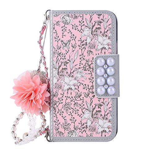 iPhone 8 Plus Case for Women, iPhone 7 Plus Case, DMaos Luxurious 3D Flower Ball Magnetic Flip Leather Wallet Cover with Chain, Cute Girly Handbag, Premium for iPhone 8+ 7+ 5.5 Inch (Pink Flower)