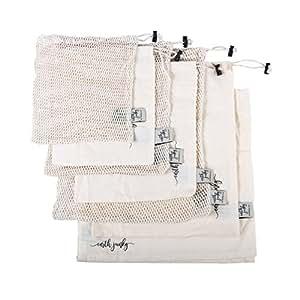 BEST REUSABLE PRODUCE BAGS for Grocery Shopping & Storage, 7 pc Set w/ BONUS Swaddle Sheet for Safe Freshness, 6 Eco-Friendly Organic Muslin Cotton Drawstring & Premium Mesh Bag Set, Washable