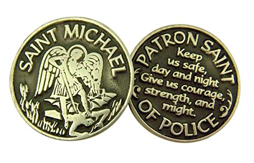 Religious Gifts Silver and Black Tone Patron of Police Saint Michael Devotional Prayer Token, 1 1/8 -