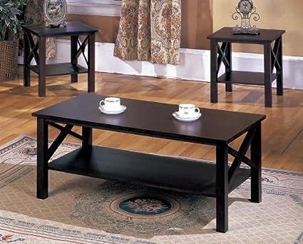 Kingu0027s Brand 3 Pc. Cherry Finish Wood X Style Casual Coffee Table U0026 2 End
