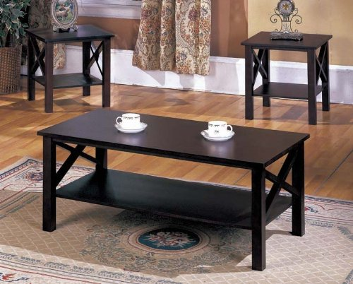 - King's Brand 3 Pc. Cherry Finish Wood X Style Casual Coffee Table & 2 End Tables Occasional Set
