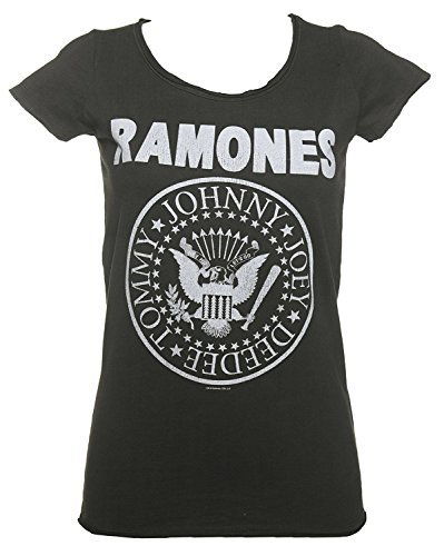 Ramones Ladies Tee - Sun-Tshirt Womens Charcoal Classic Ramones Logo T Shirt