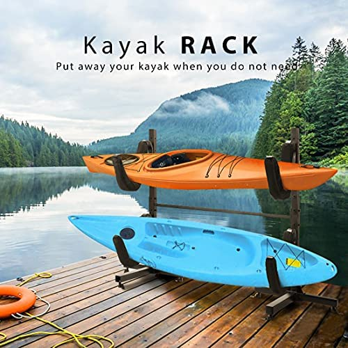 Kayak Storage Rack Accessories Stands Carrier Rack Heavy Duty Steel Wall Ladder Mount Kayak Suspension Indoor or Outdoor for Kayaks Canoe SUP Paddle Board and Small Boat Surfboard and Sailing