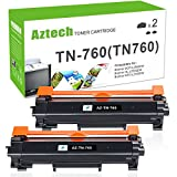 #3: Aztech 2 PK High Yield Compatible for Brother TN-760 TN730 TN760 Toner Cartridge for Brother HL-l2390dw HL-l2395dw DCP-l2550dw MFC-l2750dw MFC-l2710dw HL-l2350dw HL-l2370dw HL-L2370DWXL Toner-No Chip
