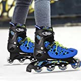 Anfan Adjustable Inline Skates, Safe and Durable Training Rollerblades for Teens/Adults, Integral Steel Plastic Roller Skate (US STOCK) (Blue, US 8-10)