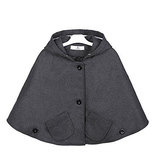 Everweekend Kids Girls Wool Blend Hoodie Capes Poncho Children Fall Winter Outwear