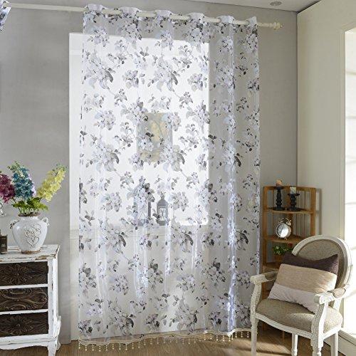 Norbi Decorative Floral Tulle Voile Door Window ROM Curtain Drape Panel Sheer Scarf Valances (Purple(Beaded))