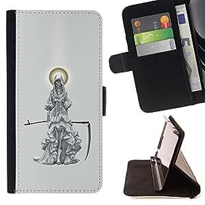 Momo Phone Case / Flip Funda de Cuero Case Cover - Grim Reaper Luna Scythe Gris - Samsung Galaxy Note 5 5th N9200