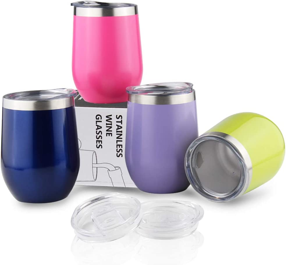 Sivaphe Wine Tumblers Gifts Families Insulated Double Walled Coffee Cups Stainless Steel Tea Glasses with Lids for Camping Home Office Party 12OZ Set