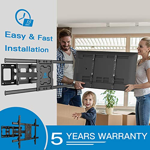 Full Motion TV Wall Mount Bracket Dual Articulating Arms Swivels Tilts Rotation for Most 37-70 Inch LED, LCD, OLED Flat Curved TVs, Holds up to 132lbs, Max VESA 600x400mm by Pipishell
