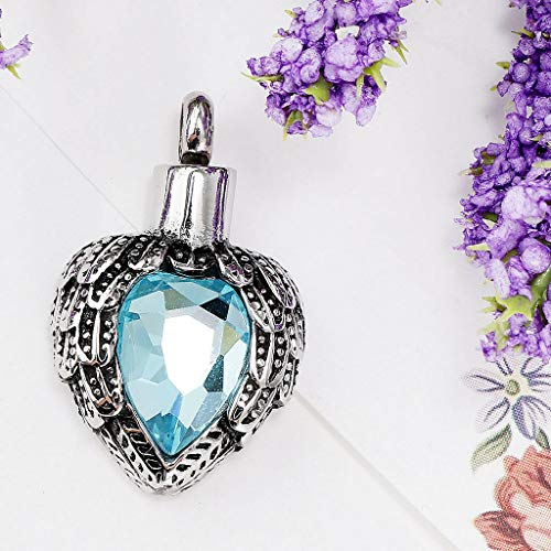 Heart Rhinestone Gem Feathers Retro Stainless Steel Urn Ash Holder Keepsake Necklace Jewelry Crafting Key Chain Bracelet Pendants Accessories Best| Color - Blue
