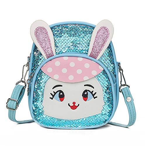 Luxury Toddler Baby Girl Sequins Backpacks Cute Kids Boy Cartoon Rabbit Bunny Casual Travel Shoulder Bags Satchels Rucksack (Blue, One_Size)