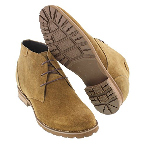 Height Shoes Boots Elevator 3 CALTO Inches Tan Lace up Taller T65561 Nubuck Khaki Increasing wSfIa