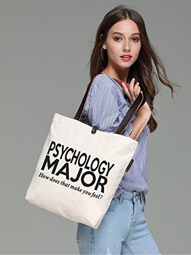 So'each Women's Psychology Major Graphic Top Handle Canvas Tote Shoulder Bag