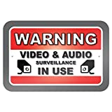"Warning Video and Audio Surveillance in Use 9"" x 6"" Metal Sign"