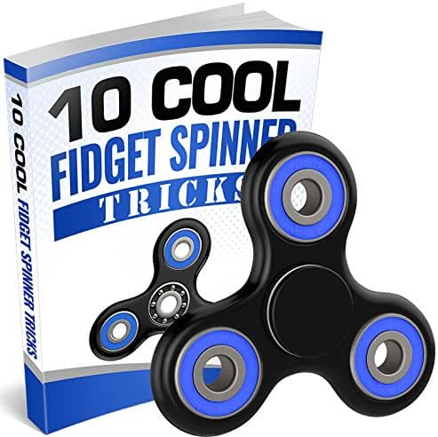 The Official Anti-Anxiety 360 Spinner with FREE EBOOK Helps Focusing Fidget Toys [3D Figit] Premium Quality EDC Focus Toy for Kids & Adults-Best Stress Reduce ADHD Anxiety Ceramic Cube Bearing (Black)