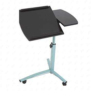 uenjoy ruedas para ordenador portátil mesa mesa para cama escritorio TV bandeja de alimentos Hospital PC inclinación de mesa, color negro 3 wheels: ...