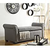 Inspired Home Noah Grey Leather Storage Bench – Nailhead Trim | Ottoman | Modern & Contemporary Review