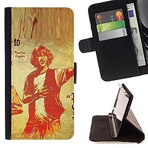BullDog Case - FOR/Samsung Galaxy S6 / - / man portrait drawing retro art poster /- Monedero de cuero de la PU Llevar cubierta de la caja con el ID Credit Card Slots Flip funda de cuer