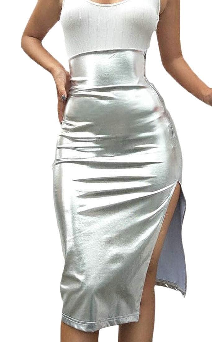 dahuo - Falda - para Mujer Plateado Plata 34: Amazon.es: Ropa y ...