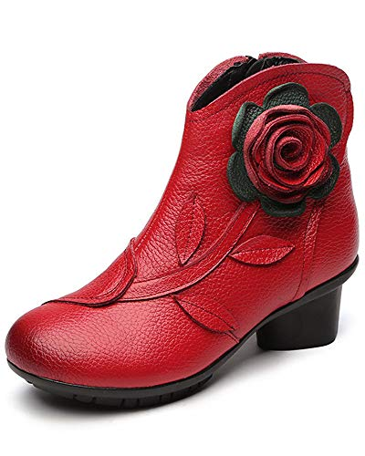 Women's Leather Casual Ankle Boots Oxford Boots Block Heel Warm Booties Zipper Shoes Snow Boots Fleece Red