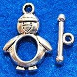 10Sets PENGUIN Toggle Clasps Cute Hooks Connectors C387 DIY Crafting Key Chain Bracelet Necklace Îewelry Accessories Pendants