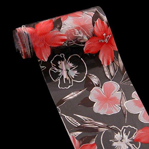 MALLOOM Colorful Nail Art Roll Foil Glue Transfer Sticker Clear Foil Toes Nai...