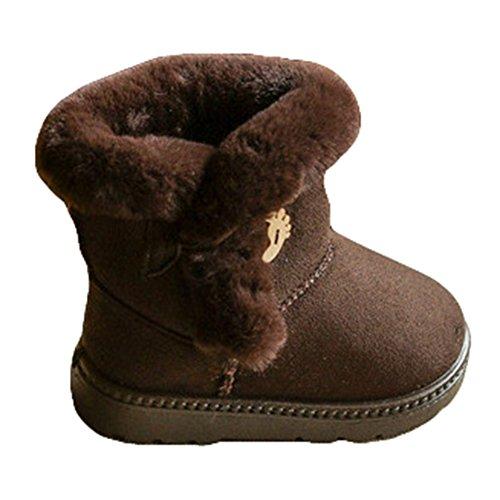 Hibote Mädchen Wärme Schlupfstiefel Kinder Jungen Gepolsterten Schuhe Boots Gefüttert Winter Stiefel Kaffee