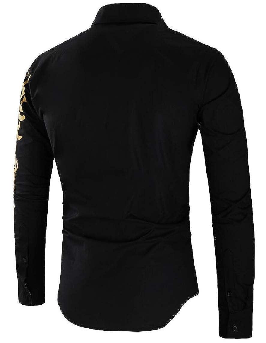 Htoohtooh Men Slim Gold Lion Print Long Sleeves Dress Shirts At
