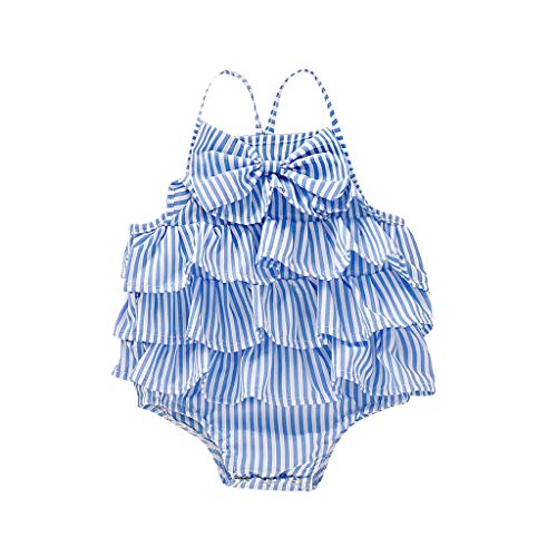 ❤️ Mealeaf ❤️ Infant Baby Girls Sleeveless Striped Print Ruffles Bow Bodysuit Romper Clothes(Blue,80) ()