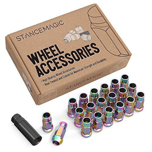 20pc Extended Tuner Race Lug Nuts - 12x1.25 Thread Size - Open End - Cone Conical Taper Acorn Seat (60 degree) - 2