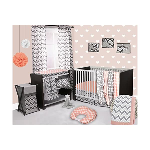 Bacati – Coral/Grey Ikat Chevron Muslin 10 Pc Crib Set with 2 Crib Sheets (Bumper Pad not Included)