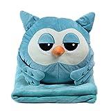 Alpacasso 3 In 1 Cute Cartoon Plush Stuffed Animal Toys Throw Pillow Blanket Set with Hand Warmer Design. (Blue Owl)