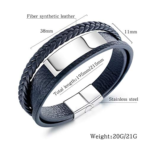 GAGAFEEL Leather Classic Braided Rope Bracelet Custom Engraved Message Stainless Steel Bangle Unisex Gift (Black-Engrave 2 Side-Length 19.5cm)