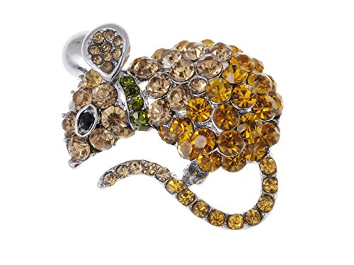 Alilang Cute Mouse Rat Pet Silvery Tone Ombre Rhinestone Crystal Animal Critter Pin Brooch, Orange (Vegas Pin Brooch)