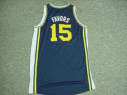 premium selection 1540c 349e6 Derrick Favors Utah Jazz 2011-12 Game Worn Road Jersey at ...