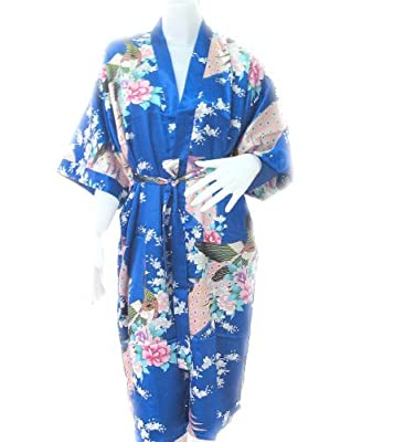 Japanese Tradition Bathrobe Peacock Bath Robe For Women's Soft Silk Fabric Robe
