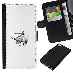 LECELL--Cuero de la tarjeta la carpeta del tirón Smartphone Slots Protección Holder For HTC Desire 820 -- Formación un hipopótamo --