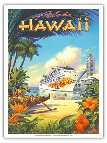 Pacifica Island Art Pride of Hawaii Cruise Ship - Aloha Towers, Honolulu Harbor - Vintage Style Hawaiian Travel Poster by Kerne Erickson - Master Art Print - 9in x 12in (Poster Hawaii Travel)