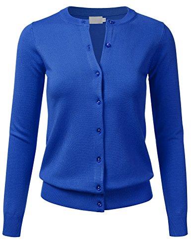 FLORIA Women's Gem Button Crew Neck Long Sleeve Soft Knit Cardigan Sweater COBALTBLUE L
