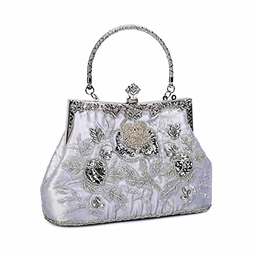 - UBORSE Women's Embroidered Beaded Sequin Evening Clutch Large Wedding Party Purse Vintage Bags (Silver)