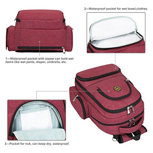 S-ZONE 16 bolsillos beb¨¦ pa?al bolsa organizador resistente al agua Oxford tela viaje mochila con almohadillas cambiantes y correas de cochecito