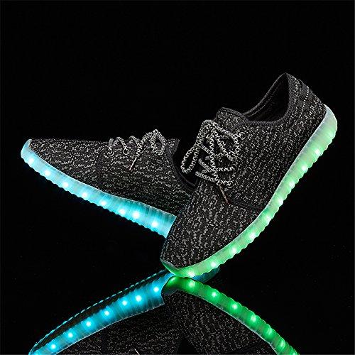 LEOVERA Herren & Damen LED-Schuhe USB Lade leuchten Schuhe blinkende Sneakers Schwarz02