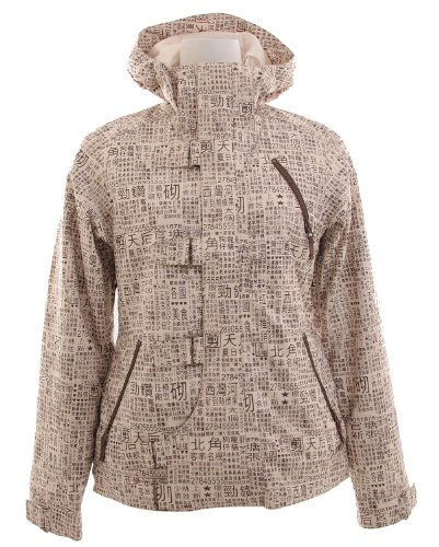 Burton Dream Snowboard Jacket Chestnut Paper Print Womens Sz (The House Snowboard Jackets)