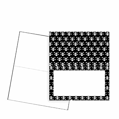 - Skull and Crossbones Place Cards - Flat or Tent Style - 10 or 50 Pack - White Blank Front with Border - Placement Table Name Seating Stationery Party Supplies Dinner Occasion Event (10, Tent Style)
