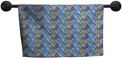 xixiBO Easter Towel W 35 x L 12(inch) Quick Dry Towel,Ice Cream,Memphis Style Eighties and Nineties Pattern with Geometrical Pop Art Funky Flavor,Multicolor